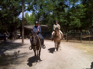 Rociada and Riley on their first trail ride