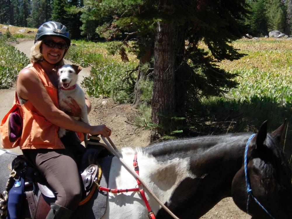 Tamara and Abby ride double on Nakota