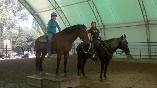 Barbara and Maddy practice ponying