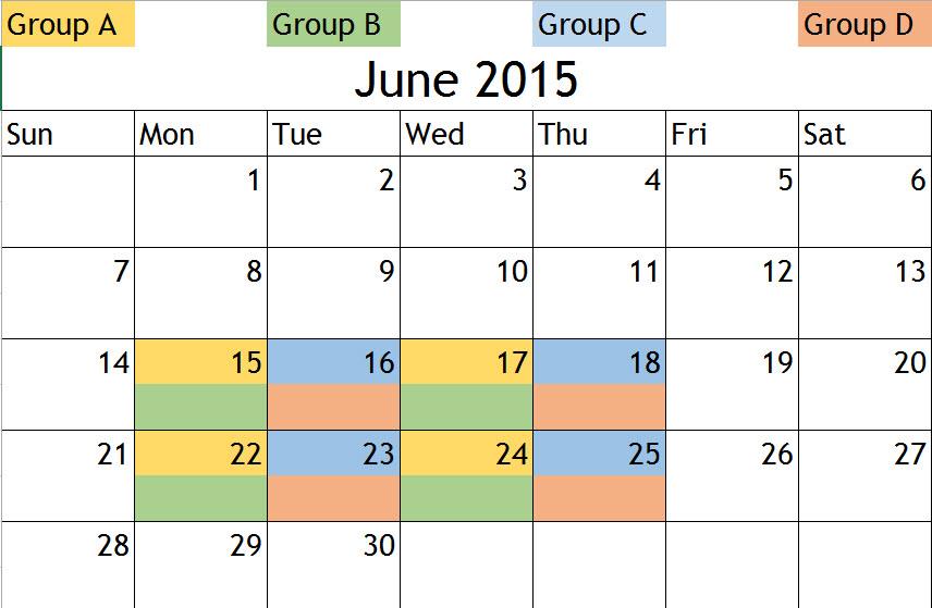Youth Summer Program 2015 Calendar