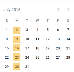 July 2018 calendar with all Mondays highlighted in yellow